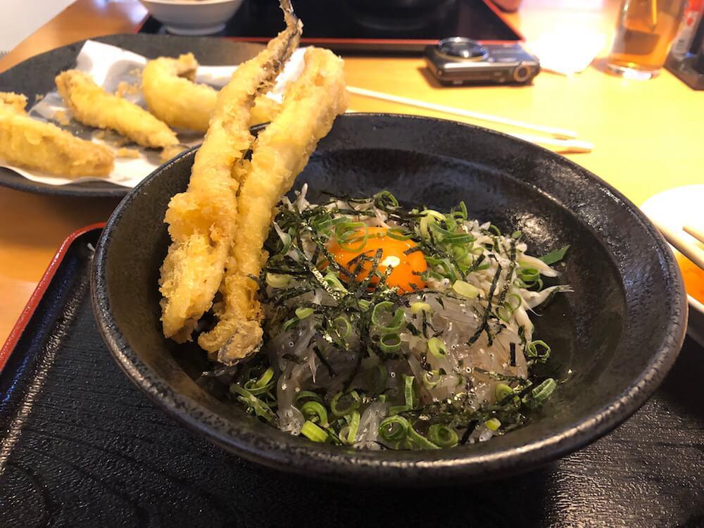 泉州しらす丼「きんちゃく屋」アナゴの天ぷら